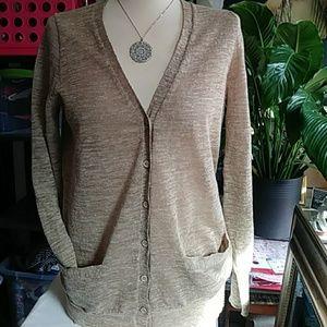 J.Crew tan linen Blended v-neck cardigan